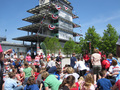 Milka speaking with kids at Indianapolis Motor Speedway